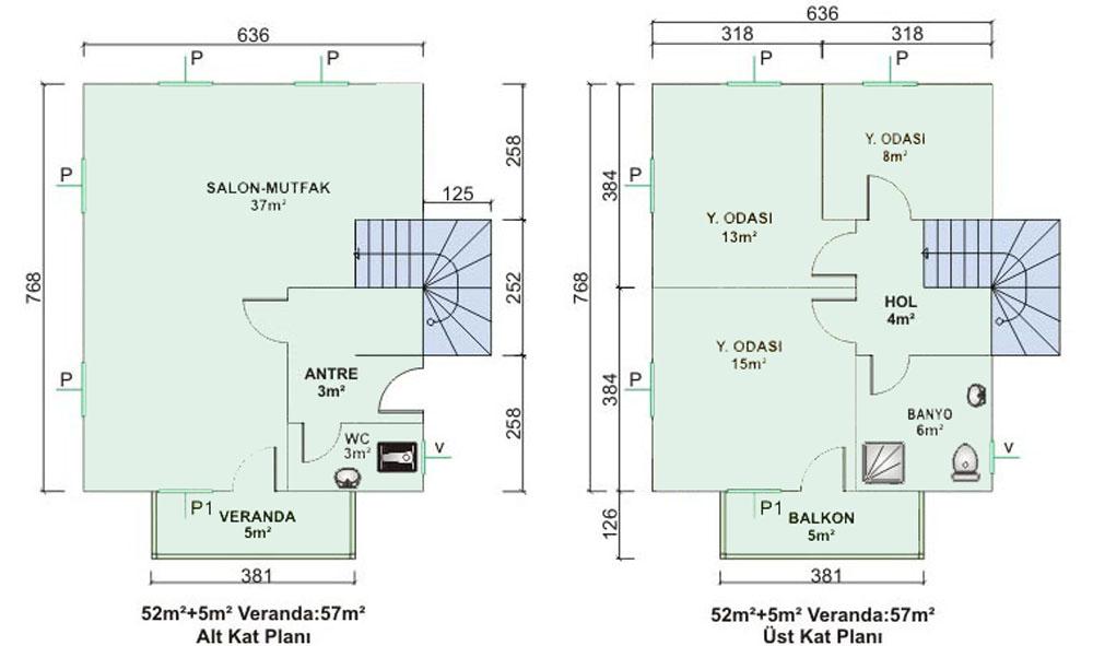 Geniş Prefabrik 2 katlı ev Planlı